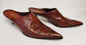 Antonio-Melani-Leather-Mules-Heels-Boots-Shoes-Slip-Ons-Western-Brown-Inlay-8-M