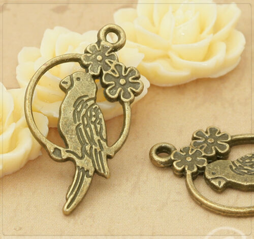8x metal colgante Charm loro pájaro para joyas DIY bronce 15x28mm mb1254