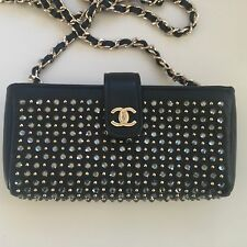 AUTH RARE CHANEL STRASS CRYSTAL GOLD CLUTCH, O - POUCH, WALLET REMOVABLE STRAP