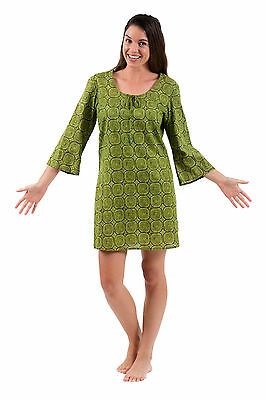 Cotton Voile beach cover up or kaftan dress from Spirituelle -  Olive  S - 3XL