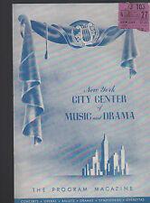 New York City Center of Music & Drama Program Magazine Ballet Russe Monte Carlo