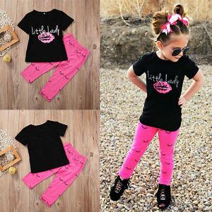 95a5f74f9f43 2Pcs Infant Kid Baby Girls Outfits T-shirt Tops +Leggings Pants ...