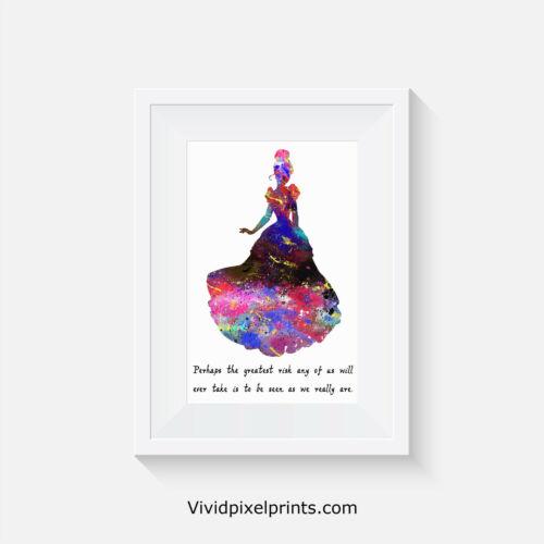 Cinderella print quote art poster posters prints bedroom gift wallart