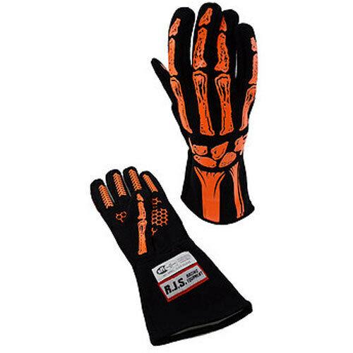 RJS Racing Equipment Single Layer Orange Skeleton Gloves Large