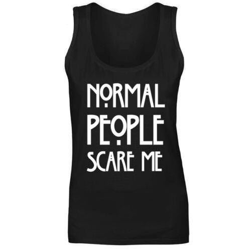 Womens Normal People Scare Me Slogan Vest Tank Top NEW UK 8-18