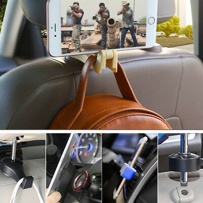 Universal 2pc Beige Car SUV Seat Hanger Holder Organizer Hook Bags Headrest ABS