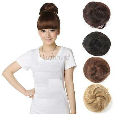 Pony Tail Women Lady Clip in/on Hair Bun Hairpiece Hair Extension Scrunchie J18