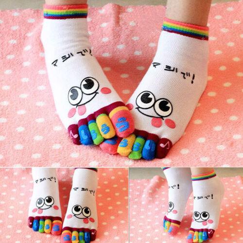 Women Socks Smile Five Fingers Trainer Toe Socks Ankle Sport Cotton Socks