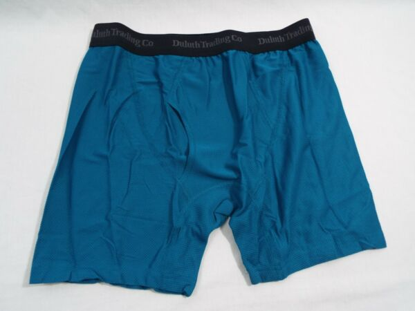 1 Coppia Duluth Trading Co Buck Naked Performance Boxer Slip Profondo Turchese