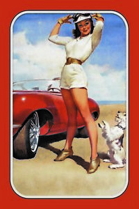 Pin-Up-Girl-Auto-et-Chien-Panneau-Metallique-Plaque-Voute-en-Etain-20-X-30-CM