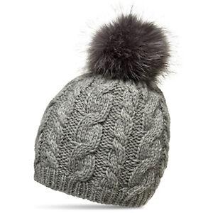 dba2bacac84 Details about CASPAR MU176 Women Ladies Warm Winter Bobble Hat Faux Fur Pom  Pom   Cable Knit