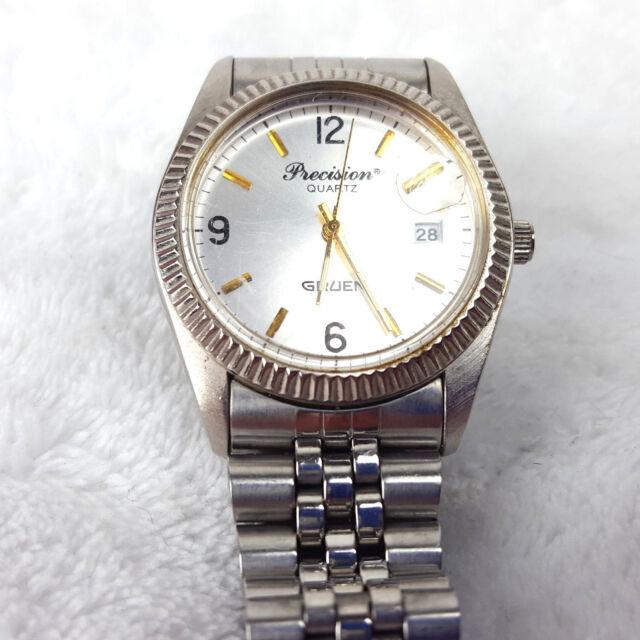 Gruen Precision Quartz Stainless Steel Mens Wristwatch Analog Steel Watch Face