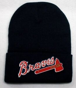 READ-LISTING-Atlanta-Braves-HEAT-Applied-Flat-Logo-on-Beanie-Knit-Cap-hat