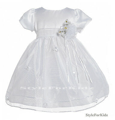 BABY GIRL WHITE DRESS CHRISTENING WEDDING BRIDESMAID FLOWER GIRL PARTY DRESSES