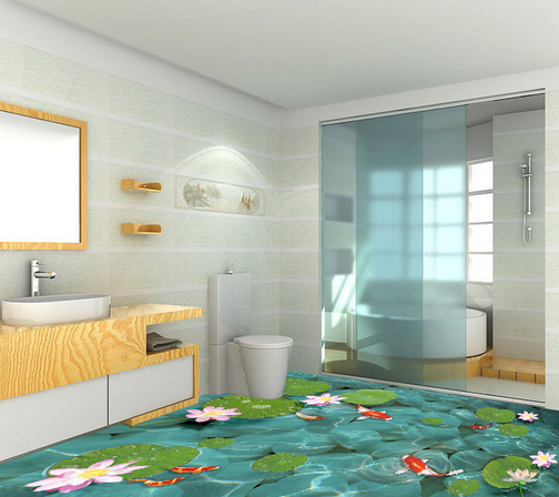 3D 3D 3D Lotus Fishs Pond 785 Floor WallPaper Murals Wall Print Decal AJ WALL CA Lemon d0f8f7