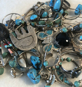 Vintage ALL STERLING LOT Native Old Pawn Turquoise Jewelry ...