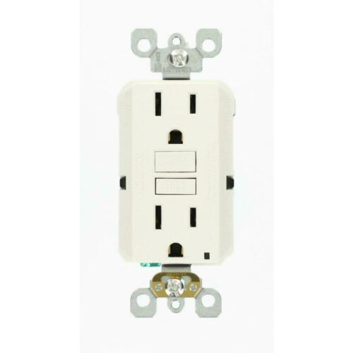 White Leviton 15 Amp Self-Test SmartlockPro Slim Duplex GFCI Outlet
