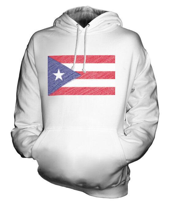 PUERTO RICO SCRIBBLE FLAG UNISEX HOODIE TOP GIFT PUERTO RICAN FOOTBALL