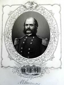 Ambrose E. Burnside Union General 1863 Virtue Civil War military portrait