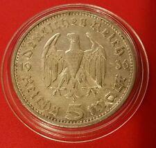 Germany Nazi 5 Reichsmark 1936 E .900 Silver Coin Prot Caps 463
