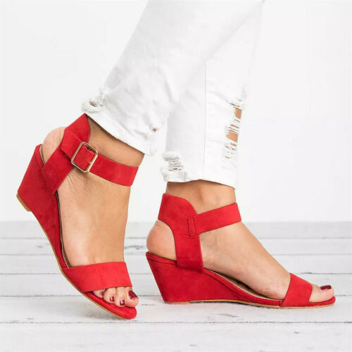 Women Ladies Summer Fashion Wedges Heel Buckle Strap Roman Shoes Sandals Size5-9