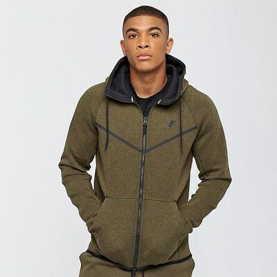 NIKE TECH FLEECE WINDRUNNER FULL ZIP HOODIE OLIVE,BLACK 805144 222 MEN'S SMALL | eBay