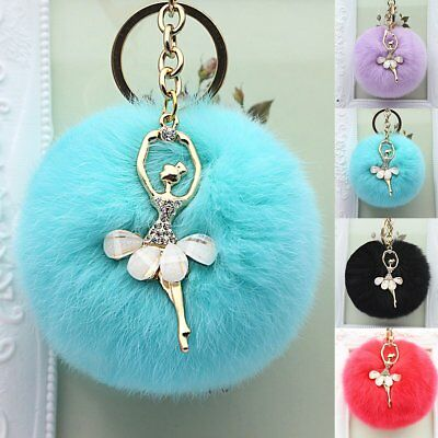 Faux Fur Pom Key Chain Cute Keyring Dangle 8cm Car Handbag Pendant Phone hanging