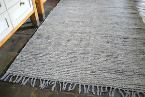 Natural-Heavy-100-Cotton-woven-rugs-2-sizes-Chunky-Grey-fleck-Large-size