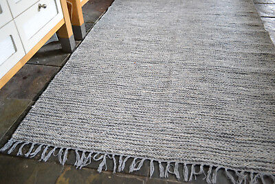 Natural Heavy 100 Cotton Woven Rugs 3 Sizes Chunky Grey Fleck Large Size Rug Ebay