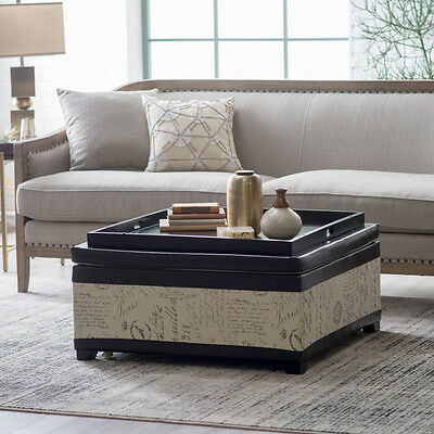 Fantastic Square Linen Upholstered Coffee Table Tray Top Storage Ottoman Home Furniture Ebay Machost Co Dining Chair Design Ideas Machostcouk