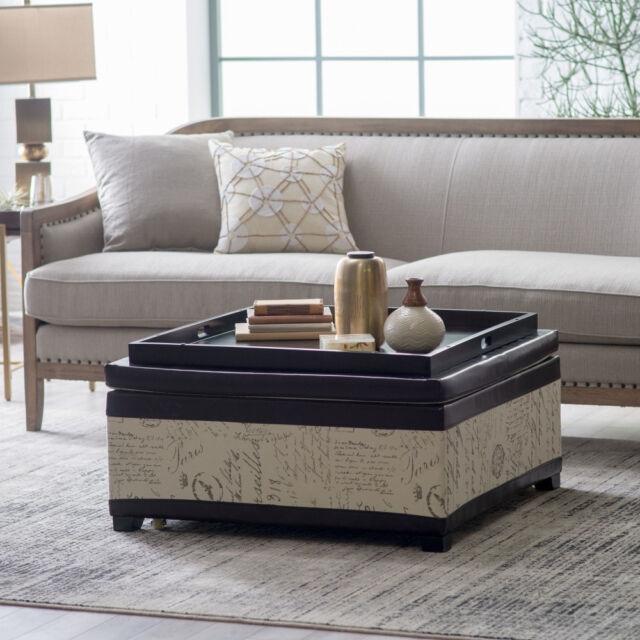 Storage Ottoman Furniture Grey Chevron Cocktail Coffee Table Tray