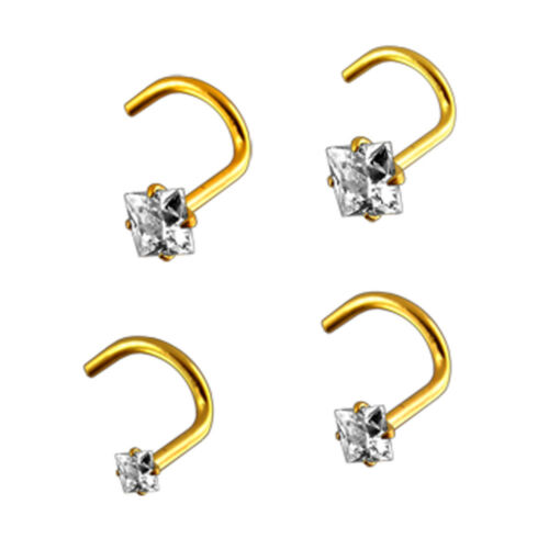 22 gauge 14K Solid Yellow Gold Square CZ Jeweled in Different sizes Nose Screw