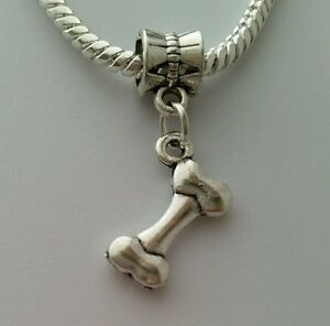 Silver-Plated-Dog-Bone-Dangle-Bead-Big-Hole-Slider-fits-European-Charm-Bracelet