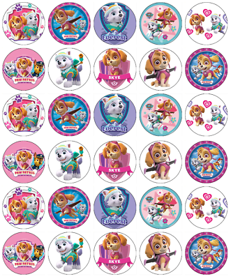 30 Paw Patrol Mighty Pups Cupcake Toppers Edible Wafer Paper Fairy Cake Toppers