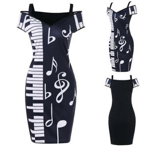 Women-Music-Note-Print-Cold-Sholuder-V-neck-Short-Sleeve-Camisole-Party-Dress