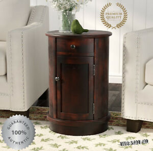 Vintage Round End Table Side Sofa, Round End Tables With Storage For Living Room