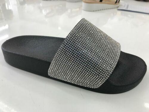 Larna Womens Flats Low Heels Diamante Ladies Slip On Pool Sliders Sandals Size