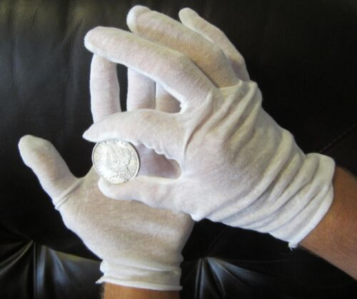 50 PAIRS WHITE COIN INSPECTION GLOVES COTTON LISLE OR BLEND JEWELRY LINER FILM