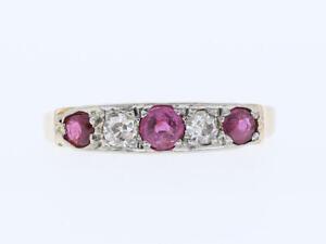 antiker-Ring-Diamanten-Rubine-750-Gold-18-Karat-um-1900