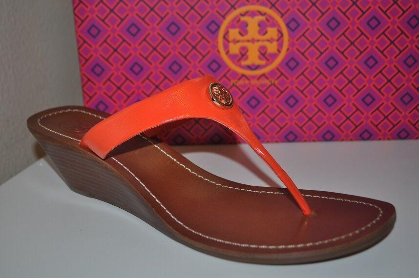 NEW 185+ Tory Burch CAMERON gold Logo orange WEDGE Thong Sandals shoes Sz 10.5