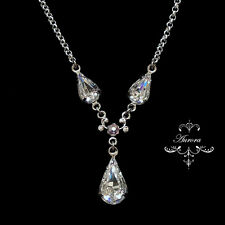 Swarovski Crystal Elements Pear Tear Drop Necklace Clear Silver Wedding Bridal