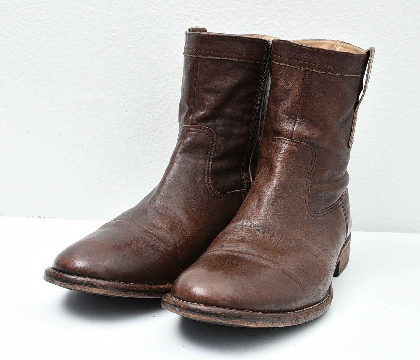 ECCO Men's Portisco Zip Boot Sz 12 Brown Leather Combat Casual Short Booties