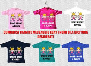Mini T Shirt Maglietta Auto Bimbe Sorelle Corona Princess Regina