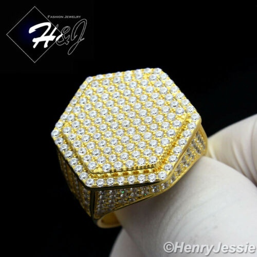 MEN 925 STERLING SILVER LAB DIAMOND BLING GOLD HEXAGON RING*GR56