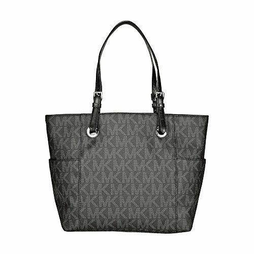 25117afe0081c Michael Kors Jet Set MK Logo East West Signature PVC Tote (Black ...
