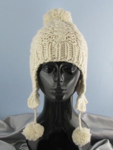 BIG BOBBLE EASY CABLE TRAPPER HAT KNITTING PATTERN PRINTED INSTRUCTIONS