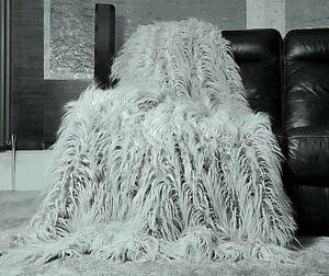 Throws-Grand-Poilu-Long-Fausse-Fourrure-Couvre-Lit-Sofa-Argent-150x200cm