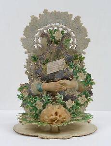 Elegant Wedding Card with reaching hands, for 1900, Chromolitho