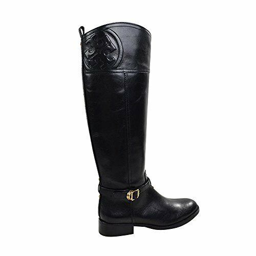 a11dc14057ed Auth Tory Burch Marlene Polished Smooth Leather Riding BOOTS Black Size 6  for sale online | eBay