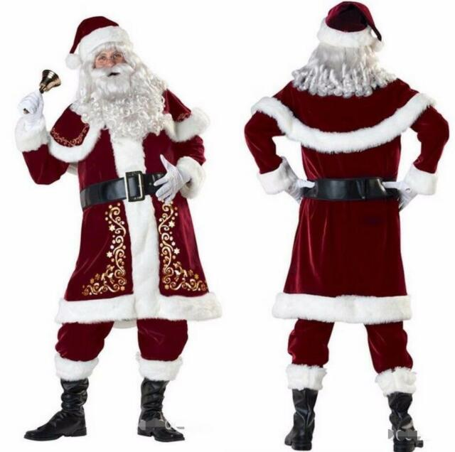 Santa Costume Regal Plush Father Christmas Suit Fancy Dress Outfit Xmas